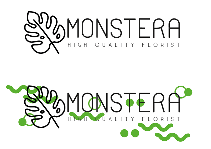 Monstera florist logo and logo with additional shapes