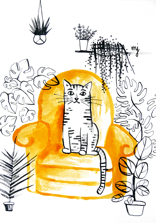 Cat on an armchair in a room full of plants