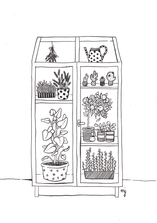 Little inhouse greenhouse with plants