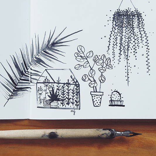 Set of handdrawn plants in notebook