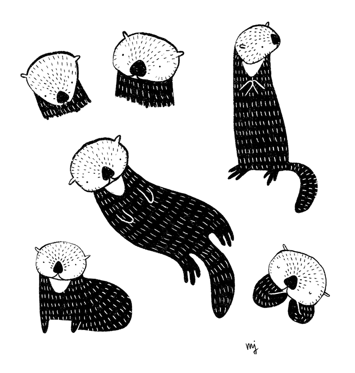 Drawing sketches of a sea otter