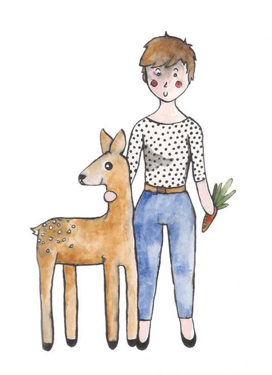 Self-portrait with deer